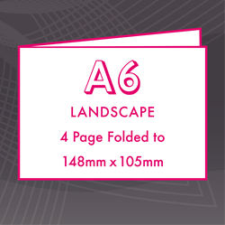 Picture of A6 Landscape - Folded 4 Pages Flyers